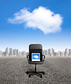 computer on the office chair and business cloud computing concept - Stock Image - CPHJYF