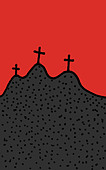Three crosses on a hill - Stock Image - D4XGPC