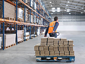 Worker Transporting Load In Warehouse - Stock Image - BBARRY