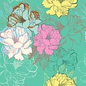 vector floral seamless pattern with abstract blooming roses - Stock Image - DKHR6R