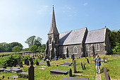 church and graveyard near Llanfairpwllgwyngyll... near Bangor, Anglesey Island, Wales, United Kingdom - Stock Image - BMM8KC