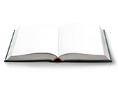 Hard cover Open book with empty blank pages, viewed by bird eye perspective. - Stock Image - DCB0PJ