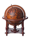 Vintage old earth globe showing America - Stock Image - BAT8C9