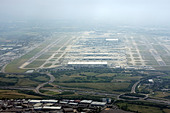 Aerial view of London Heathrow Airport - Stock Image - DANEFM