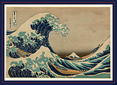 Kanagawa oki nami ura, The great wave off shore of Kanagawa. [between 1826 and 1833, printed later], 1 print : woodcut, color - Stock Image - DDXB13
