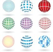 Spheres with various designs - Stock Image - DNP2EJ