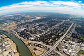 aerial view above Sacramento river and city of Sacramento, CA - Stock Image - ADM2N9