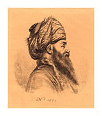 Baron Dominique Vivant Denon (French, 1747  1825 ), Profile Head of Oriental in Turban, 1820, lithograph - Stock Image - DDWCWP