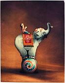 Polaroid transfer of tin toy elephant with rider. - Stock Image - BTHWBP