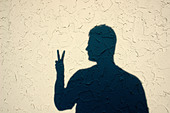 Shadow of a Man Making a Gesture of the Peace Sign Copy Space - Stock Image - AJWR6H