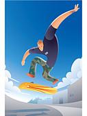 Illustration of a guy skateboarding - Stock Image - BR8X99