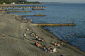 View on the beach of Sukhumi, capital of Abkhazia. - Stock Image - AA9YN3