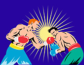 illustration of a boxer connecting a knockout punch done in retro style - Stock Image - CYYGXR