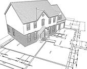 Sketched style illustration of a house on plans - Stock Image - DNP26T