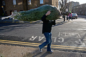 a man who has bought a christmas tree at columbia road flower market in london - Stock Image - BG3CG3