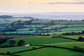 Early morning views across west Dorset from Pilson Pen hill fort which is the highest point in Dorset. - Stock Image - DGKKRM