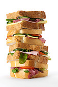 pile of sanwiches - Stock Image - ARWC3R