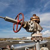 Pipes at Gunnhver Reykjanes Geothermal Power Plant, Reykjanes Peninsula, Iceland - Stock Image - CN0319