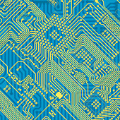 Printed blue industrial circuit board texture - Stock Image - C11FYD