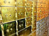 Close up of locked safety deposit boxes - Stock Image - D9315F
