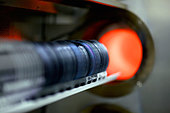 Close up of silicon wafers being processed in machine - Stock Image - CP9GMR