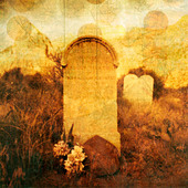 "Old western tombstone with textures and rising ""souls"". Photo based illustration. - Stock Image - D2F7KW"