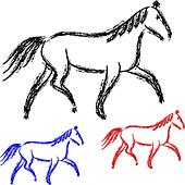 horses outlines. vector collection - Stock Image - DNKRP4