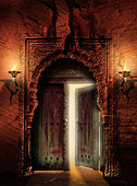 Ornate, ancient doorway with door partly open - Stock Image - BDJRYE