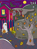 A child dressed as a ghost trick or treating on Halloween - Stock Image - BPYGMY