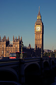 Westminster Bridge, London Bus and Big Ben, London England - Stock Image - CC5B8P