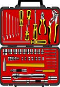vector set of different tools  in a box - Stock Image - DNKYCY