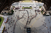 View from Eiffel Tower, of visitors queue up to enter. Paris, France. - Stock Image - CC5BDD