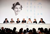epa04760481 (L-R) Moderator Frederic Taddei, producer Vincent Maraval of distribution company Wild Bunch, Swiss actress Aomi Muyock, Argentine director Gaspar Noe, US actor Karl Glusman, Danish actress Klara Kristin and producer Edouard Weil attend the press conference for 'Love' during the 68th Cannes Film Festival, in Cannes, France, 21 May 2015. The movie is presented in the section Midnight Screenings of the festival which runs from 13 to 24 May.  EPA/TRISTAN FEWINGS / POOL - Stock Image - ER0TJ4