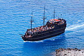 Fun cruise ship, Black Pearl from Ayia Napa, Cyprus off Cape Greco. - Stock Image - EA00R8