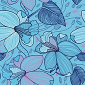 vector floral seamless pattern - Stock Image - DKHRDM