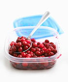 Cooked cranberries with spoon in a plastic box - Stock Image - BJM12N