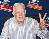 """Philadelphia, Pennsylvania, USA. 10th July, 2015. Former President Jimmy Carter Signs His New Book """"A Full Life: Reflections at Ninety"""" at The Free Library of Philadelphia on July 10, 2015 in Philadelphia, Pennsylvania, United States. © Paul Froggatt/Alamy Live News - Stock Image - EXBRCT"""