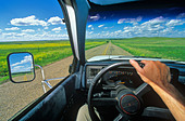 Driving across the Great Plains at Grand River National Grassland near Bison, South Dakota, USA - Stock Image - BH9P0Y