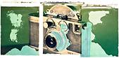 Polaroid transfer of old Russian camera. - Stock Image - BTHW4R