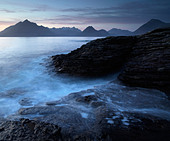 A moody winter evening at Elgol, Isle of Skye, Scotland, United Kingdom, Europe - Stock Image - CFRF3T