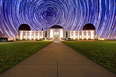 Star Trail Timelapse Behind the Griffith Observatory in Los Angeles, CA - Stock Image - C6RA0H
