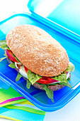 lunch box with a sandwich, elevated view - Stock Image - BEWBAX