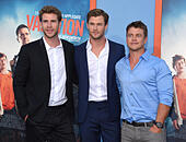 Westwood, California, USA. 27th July, 2015. Liam Hemsworth, Chris Hemsworth & Luke Hemsworth arrives for the premiere of the film 'Vacation' at the Village theater. © Lisa O'Connor/ZUMA Wire/Alamy Live News - Stock Image - EYE2NN