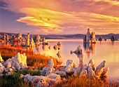 Tufa at Mono Lake with sunrise. California - Stock Image - D3AJJ9