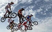Baku, Azerbaijan. 26th June, 2015. Athletes compete in the Men's BMX Motos Heats at the Baku 2015 European Games in BMX Velopark in Baku, Azerbaijan, 26 June 2015. Photo: BERND THISSEN/DPA/Alamy Live News - Stock Image - EWHGMT