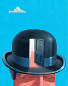 Businessman in bowler hat with open door - Stock Image - C2T3RF