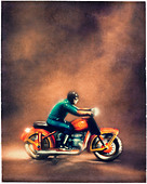old tin toy motorcycle with rider. Polaroid transfer - Stock Image - BTHT9T