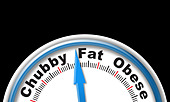 Scales with 'Chubby' 'Fat' and 'Obese' measurements - Stock Image - BKWJE7