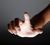 hand touching in the dark - Stock Image - C8PF84