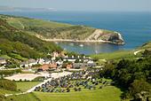 View of Lulworth Cove, Dorset, England UK - Stock Image - AEEHWB